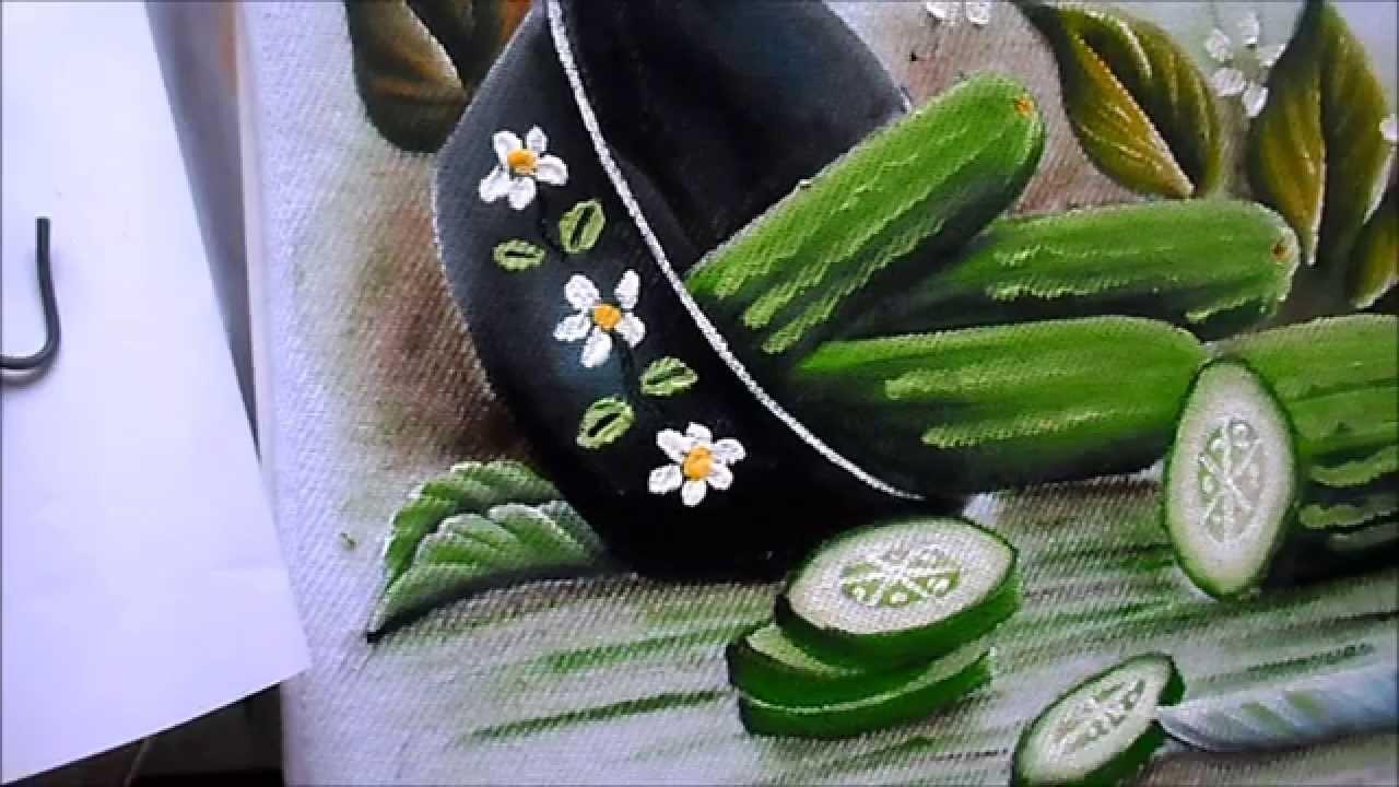 como pintar Pepino e panela preta em tecido - YouTube