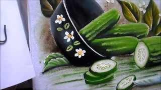 Como pintar pepino e panela preta em tecido