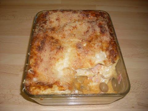 Recette de lasagne au jambon et aux champignons  - Recette facile