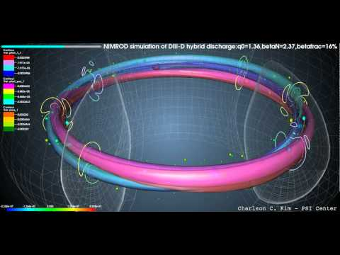 NIMROD simulation of hot particle driven (2,1) hybrid discharge