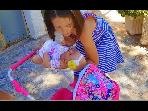 Playing with Baby Doll -Pushing Toy Pram