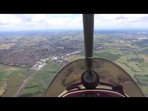 Microlight flying over Lichfield and Fradley