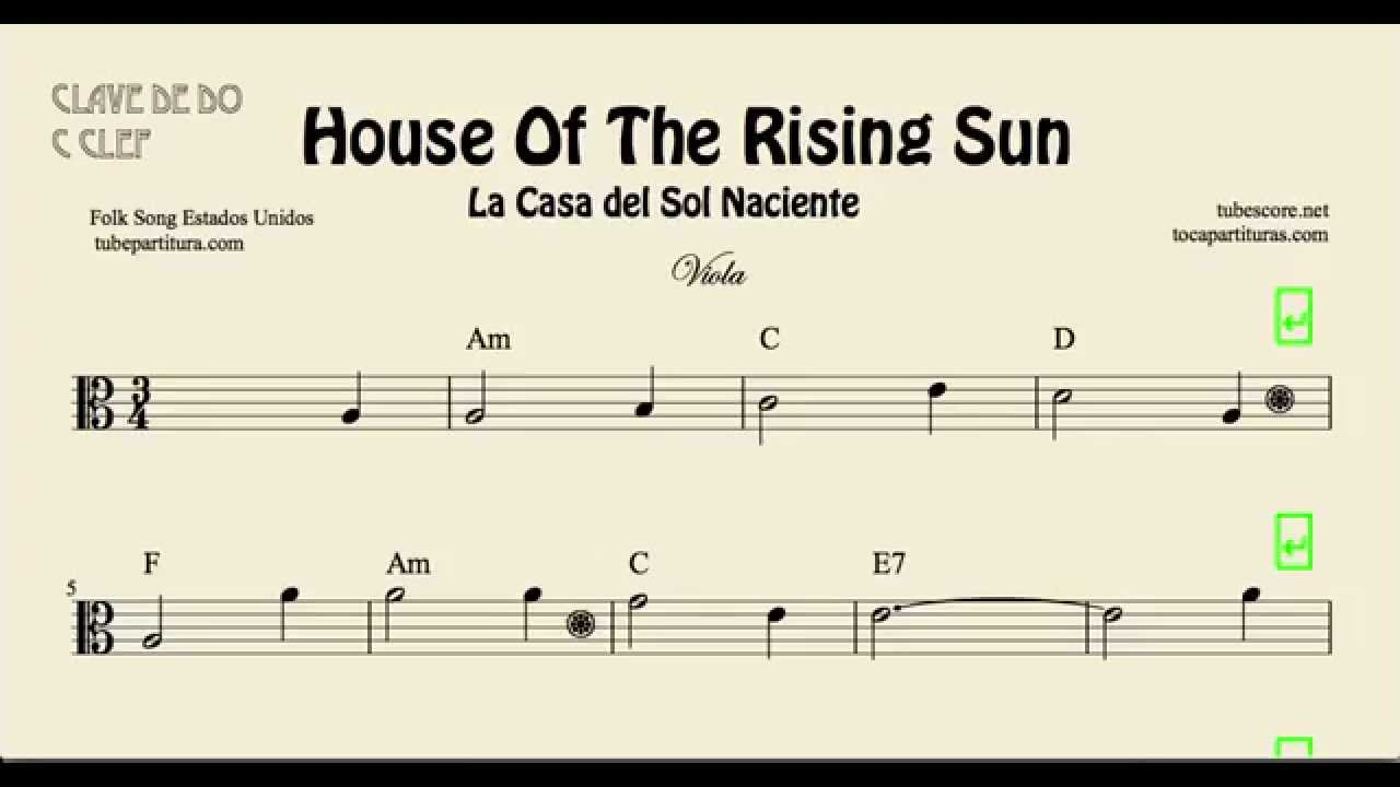 House Of The Rising Sun Sheet Music For Viola With Chords La Casa