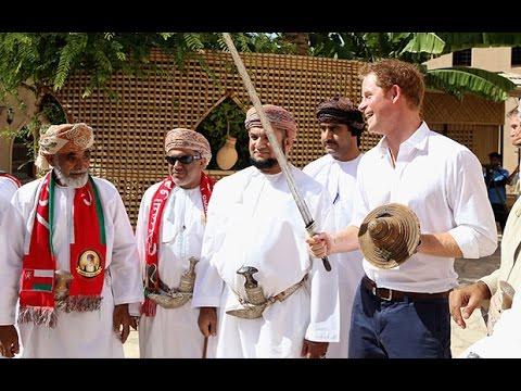 Prince Harry practices 'sword wobble' in Oman