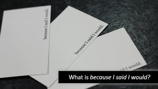 """Because I said I would"" and the Promise Card"