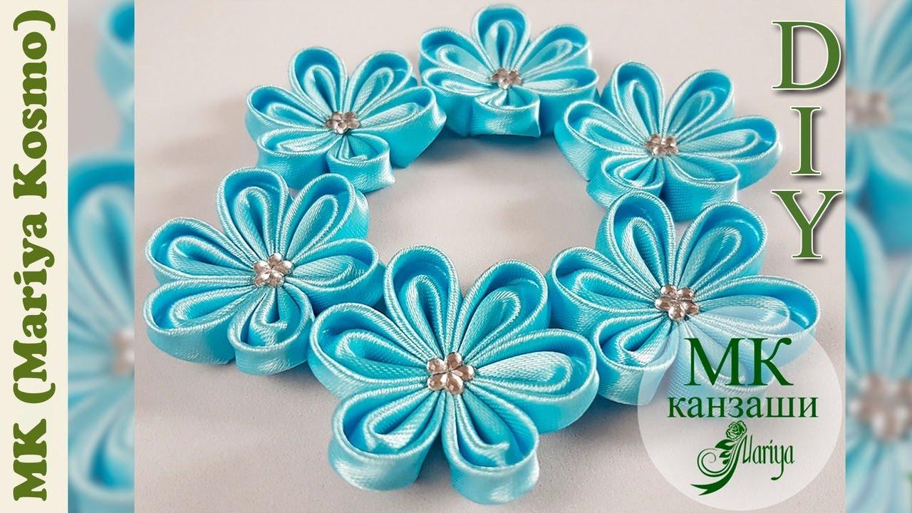 МК - цветок канзаши из атласной ленты / Топиарий - 1 часть | kanzashi | Mariya