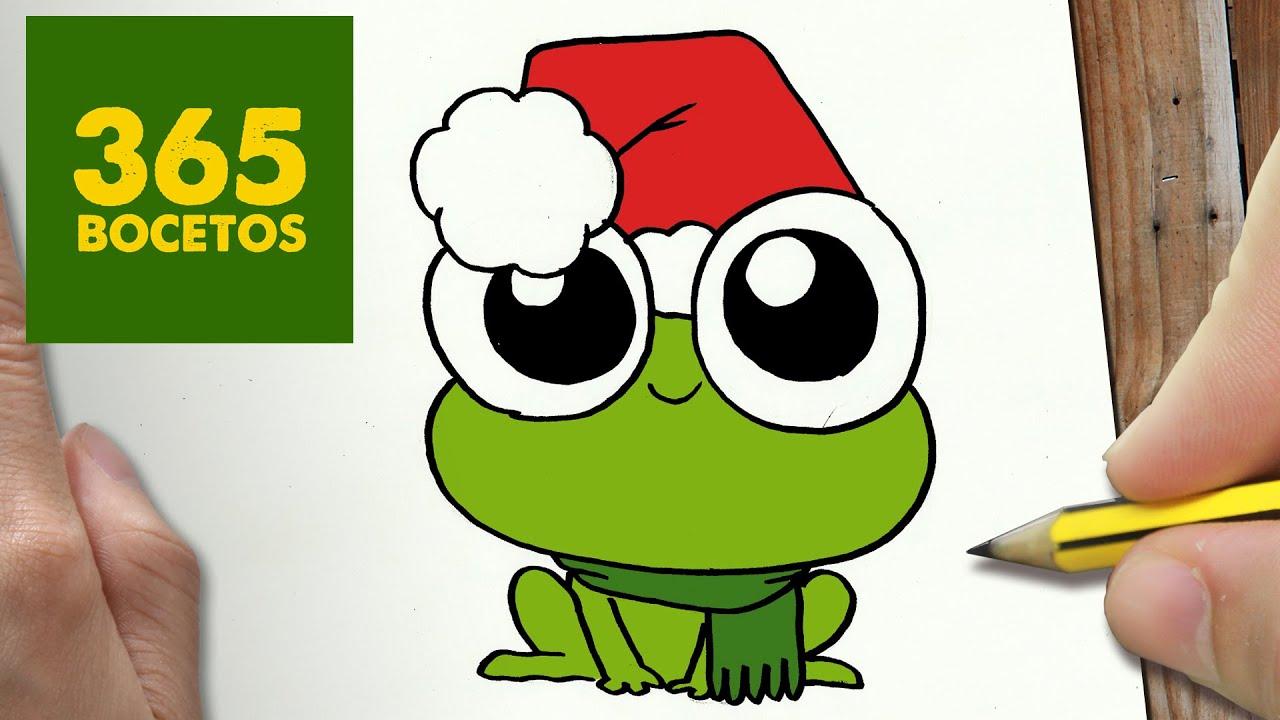 Como Dibujar Una Rana Para Navidad Paso A Paso Dibujos Kawaii Navideños How To Draw A Frog