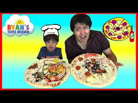 Thumbnail: PIZZA CHALLENGE RYAN TOYSREVIEW with Bean Boozled Gross Pizza Candy Surprise Eggs Opening