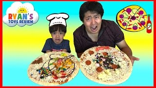 PIZZA CHALLENGE RYAN TOYSREVIEW with Bean Boozled Gross Pizza Candy Surprise Eggs Opening