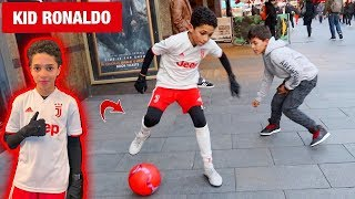 11 year old KID RONALDO playing FOOTBALL in LONDON !? (PUBLIC NUTMEGS CHALLENGE)