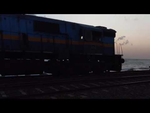 Train on the shore of Indian Ocean, Colombo