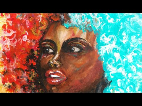 African afro painting, colorful african art, acrylic painting
