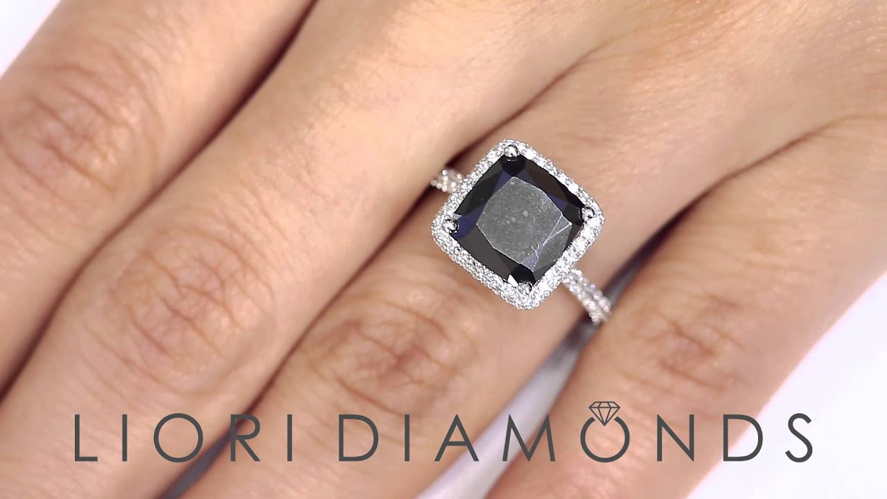 BDR 202 3 97 Carat Cushion Cut Black Diamond Engagement Ring 18k