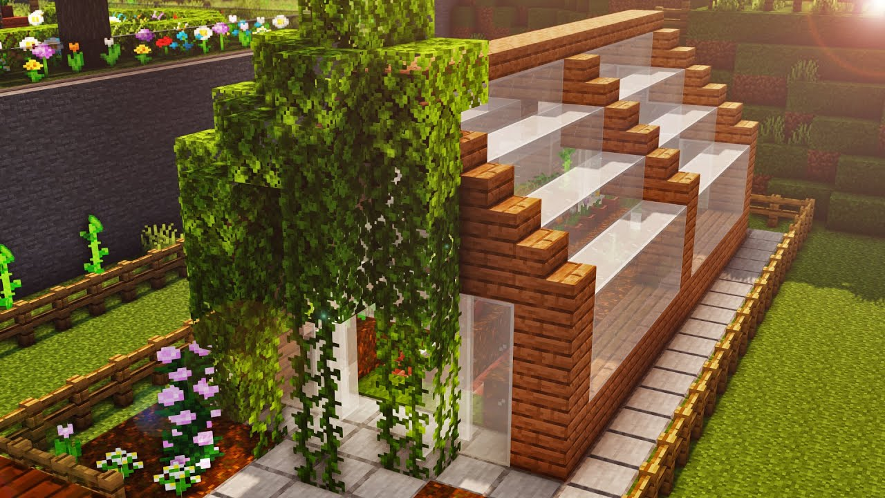 Minecraft gardening 101 greenhouse tutorial 2 youtube - Minecraft garden designs ...