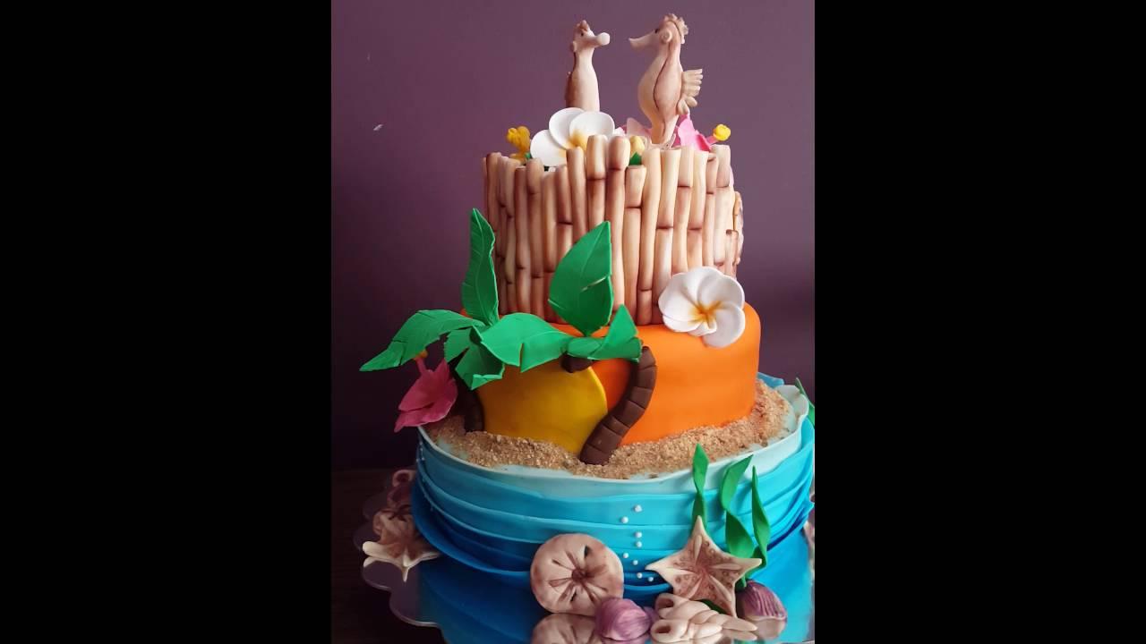 Hawaiian Themed Wedding Cake Youtube