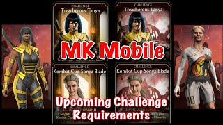 Mortal Kombat Mobile Upcoming Challenge Requirements (Treacherous Tanya, Kombat Cup Sonya Blade)