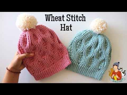 Crochet Wheat Stitch Hat / Beanie Tutorial