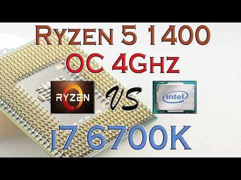 RYZEN 5 1400 MAX OVERCLOCK (R5 1400 OC 4Ghz ) Vs I7 6700K - BENCHMARKS & PERFORMANCE REVIEW