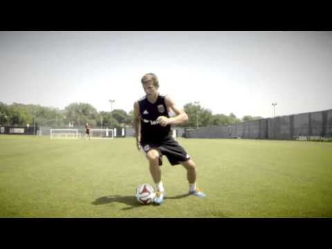 A soccer side volley, in slow motion