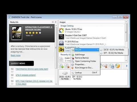 DAEMON Tools Lite Бесплатная версия программы, предназначенной для эмуляции виртуальных приводов.