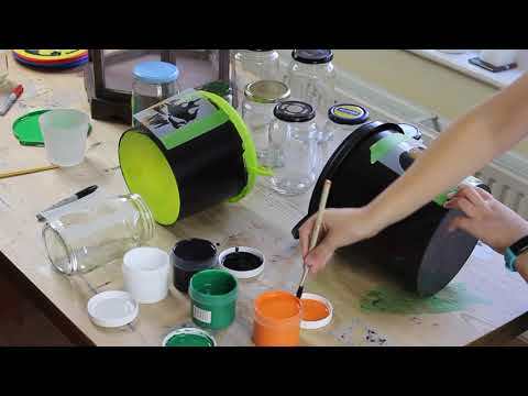 Painting Halloween stencils on Trick or Treat plastic buckets with Thorndown Peelable Glass Paint