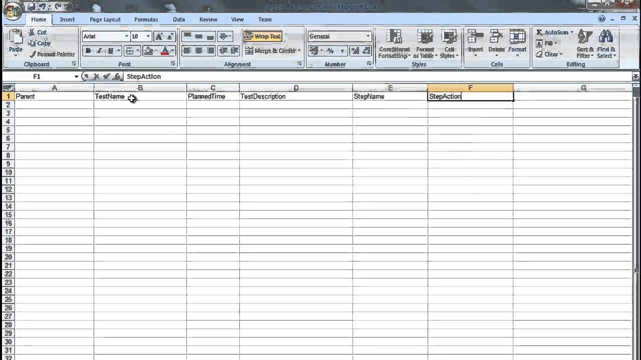 Creating a MS Excel Test Plan document for importing into ...
