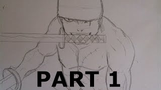 How to Draw - Zorro One Piece Speed Drawing Part 1 Bleistift