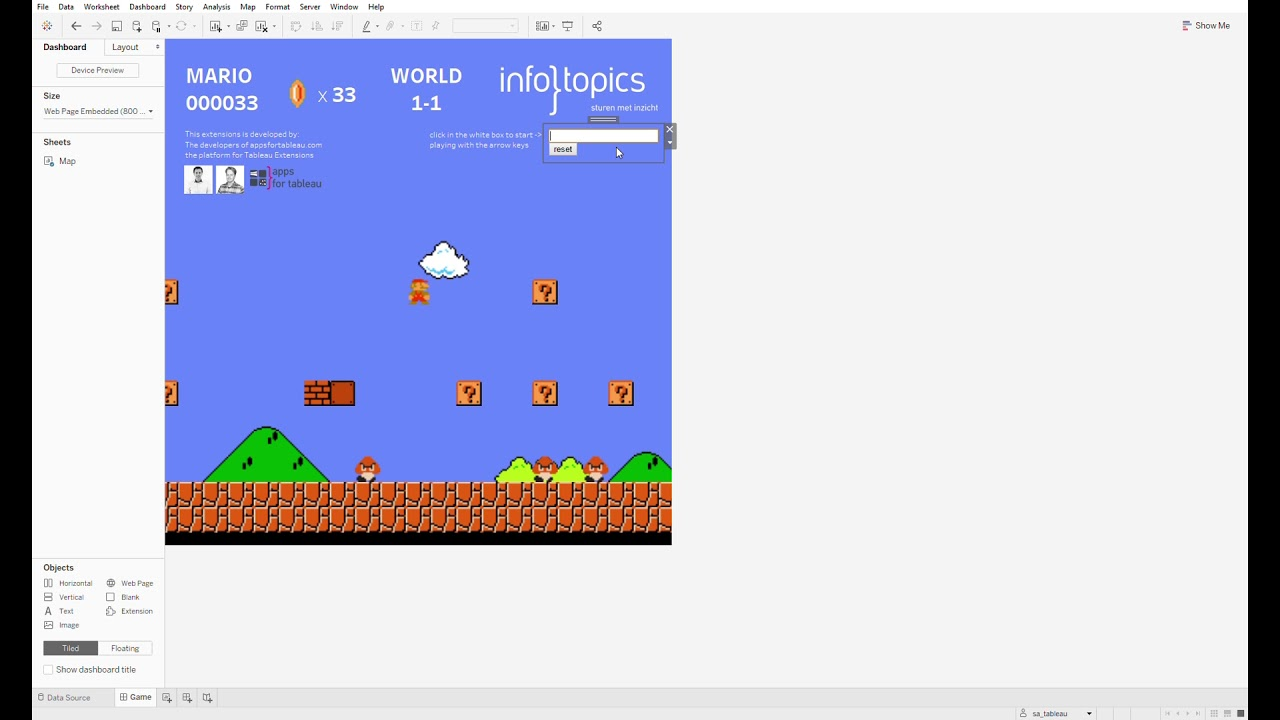 Play Super Mario in Tableau using a Tableau Extensions and a Scatterplot