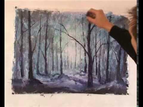 Как легко нарисовать картину Волшебный лес. Бесплатный мастер-класс.