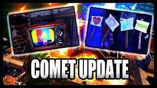 TILTED TOWERS COMET UPDATE! SECRET UFO, EMERGENCY BROADCAST, & SIGNS (Fortnite Season 4)