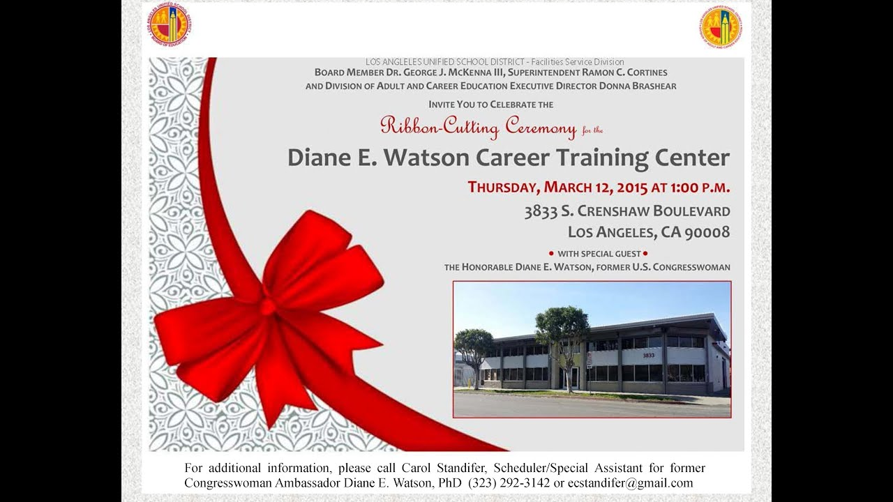 Ribbon cutting ceremony for the diane edith watson career training ribbon cutting ceremony for the diane edith watson career training center youtube stopboris Image collections