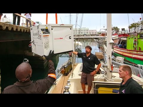 Installing our new Onan 8KW Generator- Full Cut!!!  Sailing Vessel Delos