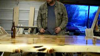 Crystal Clear Glassy Smooth Juniper Table Top Demo, Log Furniture, 2 Part Pour On Finish!