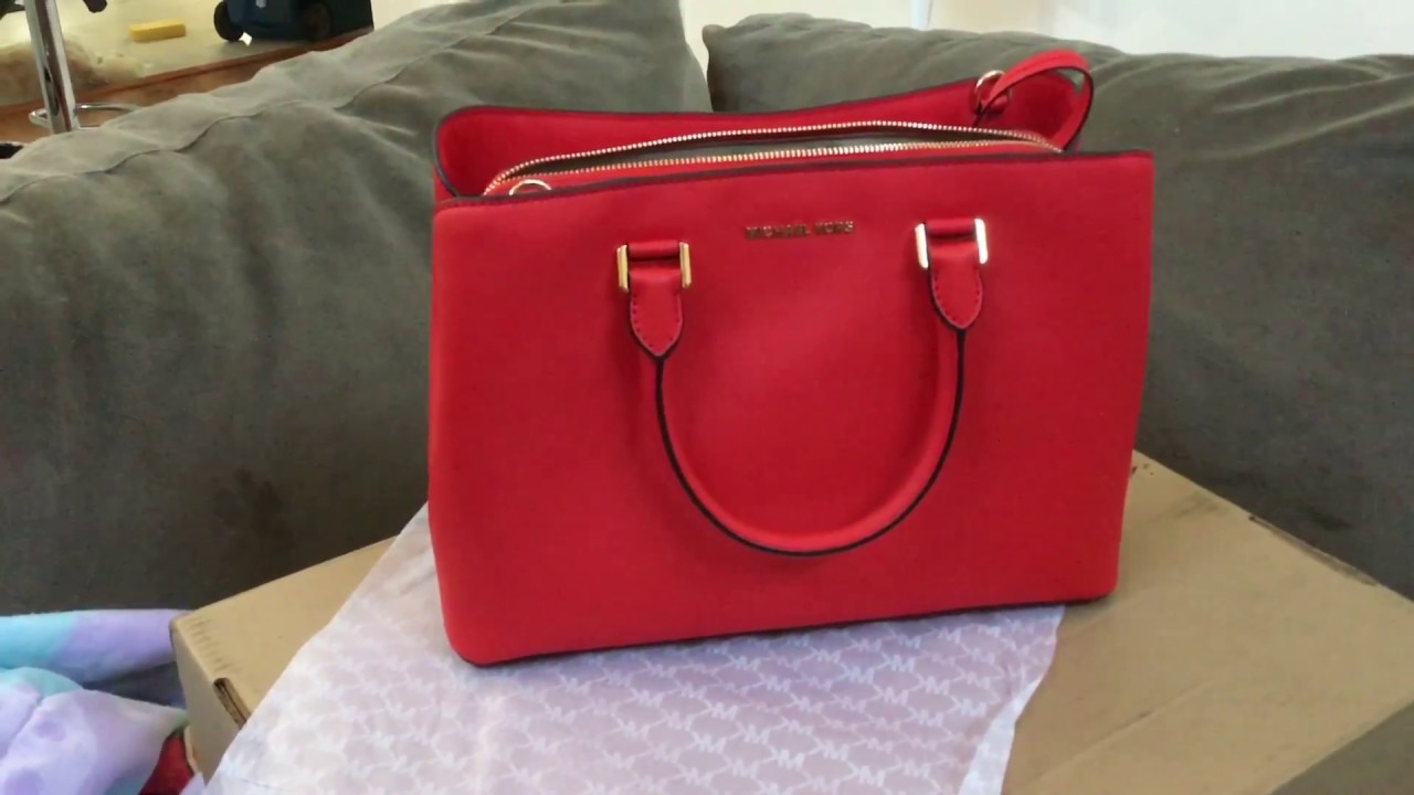 58b9a7d89 Michael Kors Unboxing 2017 - Savannah Large Saffiano Leather Satchel ...