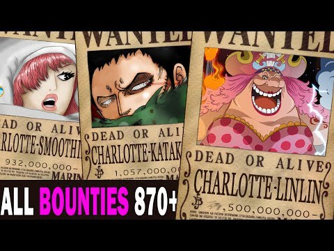 All Bounties updated to chapter 870+ in ONE PIECE