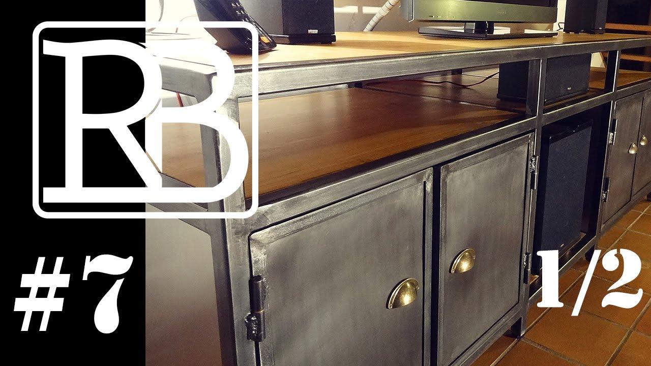 meuble de television metal et bois 1 2 diy