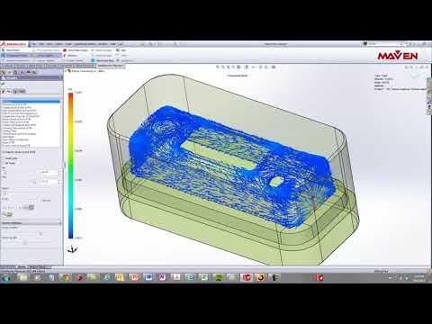 [해석 예시] 플라스틱 제품의 충진 해석 | 사출 해석 | 금형 해석|  솔리드웍스 플라스틱스(Plastics) | 3D CAE | 메이븐 (MAVEN)