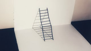 How to draw a 3D Ladder-Trick art for kids|Easy 3D ladder Drawing