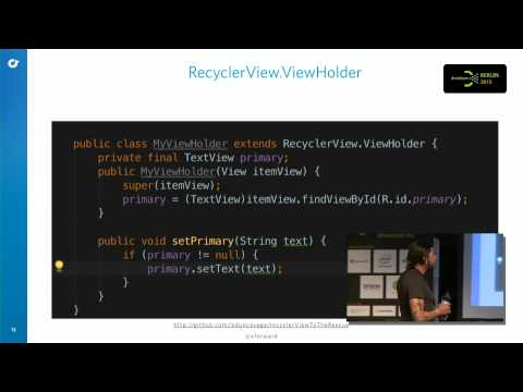 #droidconDE 2015: Brett Duncavage – Recyclerview to the rescue on YouTube