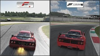 Forza 4 vs Forza 7 - Ferrari F40 Competizione at Mugello (Full Circuit)