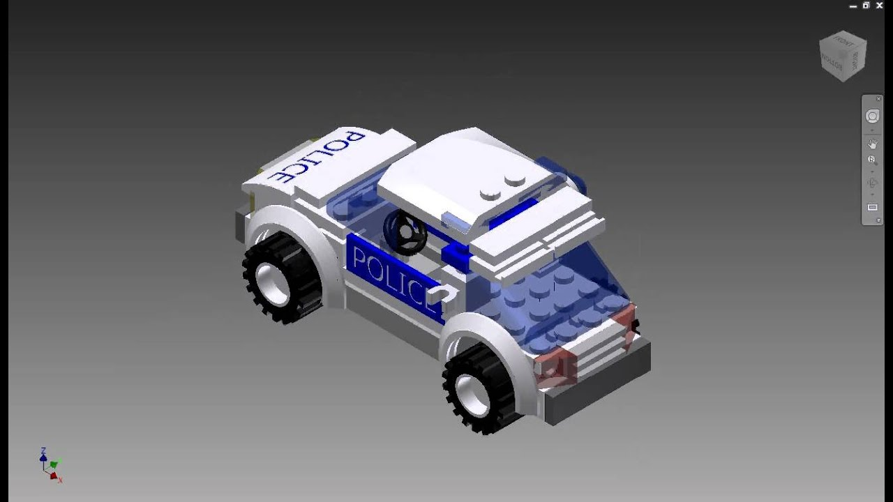 Lego police Car in autodesk inventor - YouTube