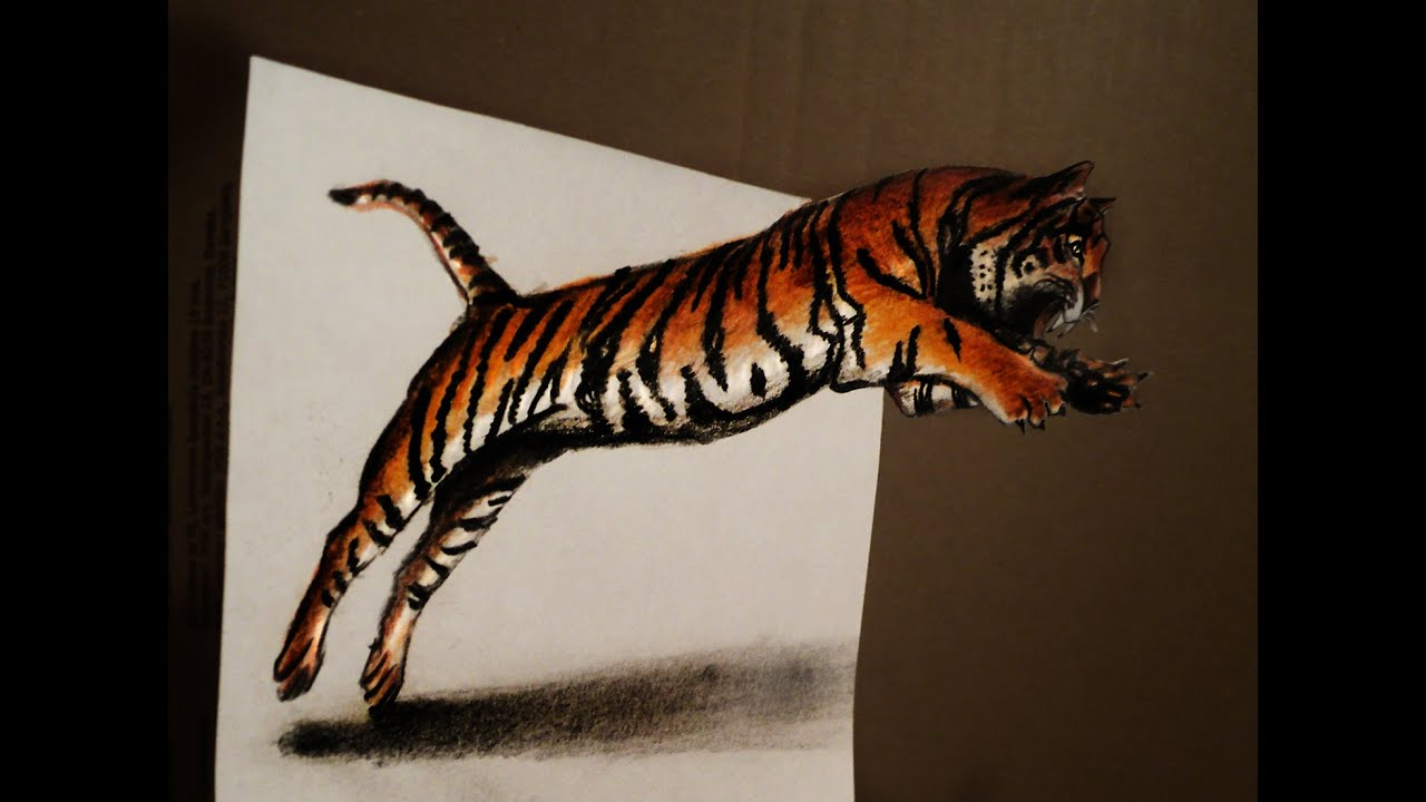 draw 3d jumping tiger - anamorphic drawing - optical illusion - youtube
