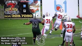 Malik Woodery (Rummel 2020 CB) vs. Shaw + INTs vs. Holy Cross & Teurlings Catholic