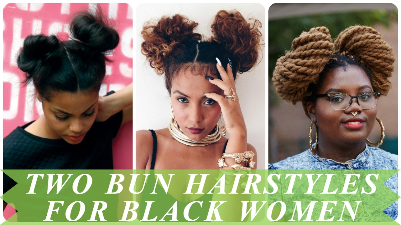 two bun hairstyles for black & african american women - youtube