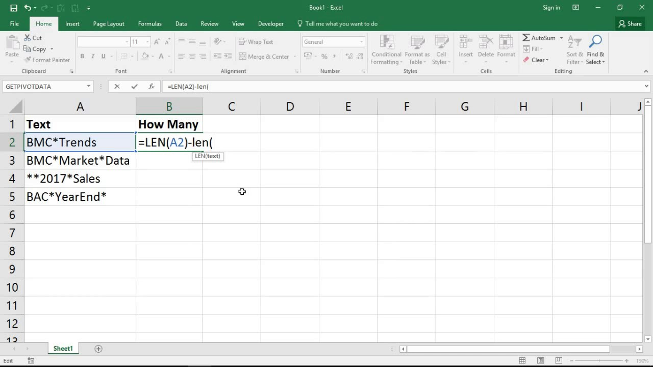 Count How Many Times A Character Appears In A Cell Excel Formula