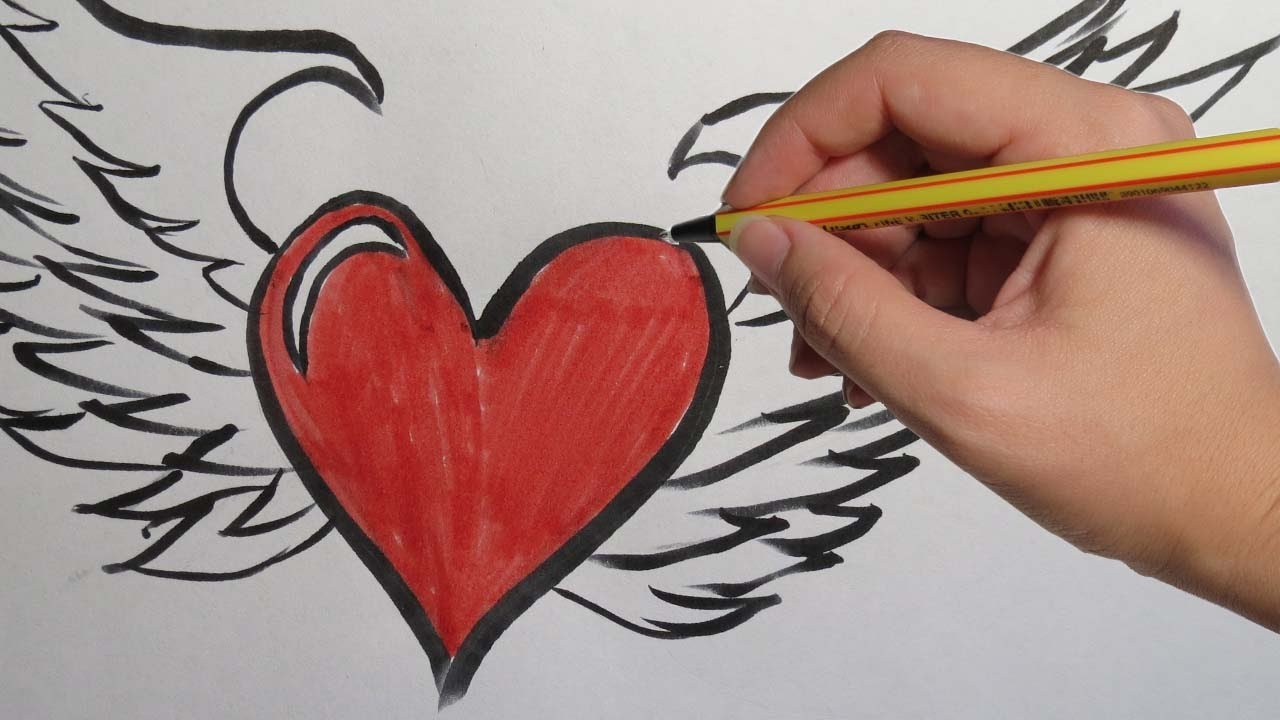 The Gallery For --> Dibujos De Corazones Con Alas Para Dibujar