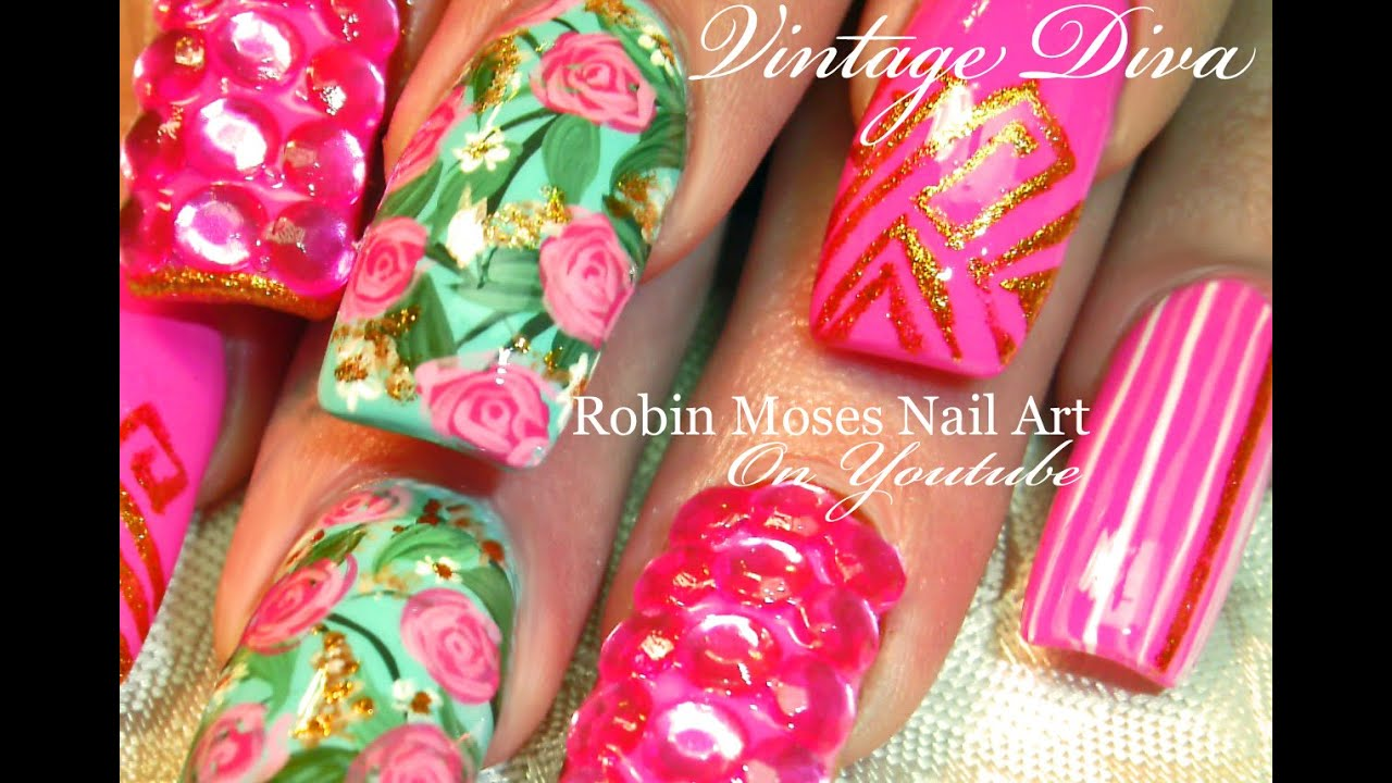 Neon Hot Pink Nails With Roses Bling Vintage Mint Diva Nail Art