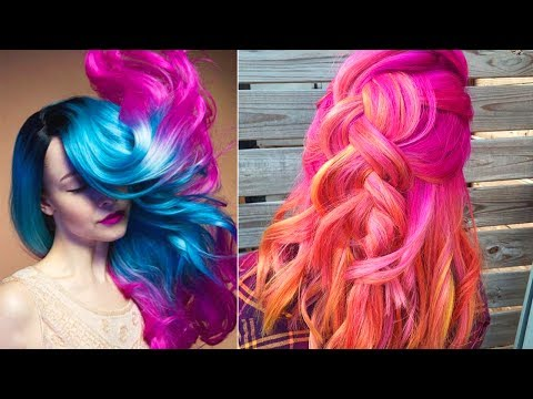best-hair-color-transformations-2017-|-rainbow-hair-compilation