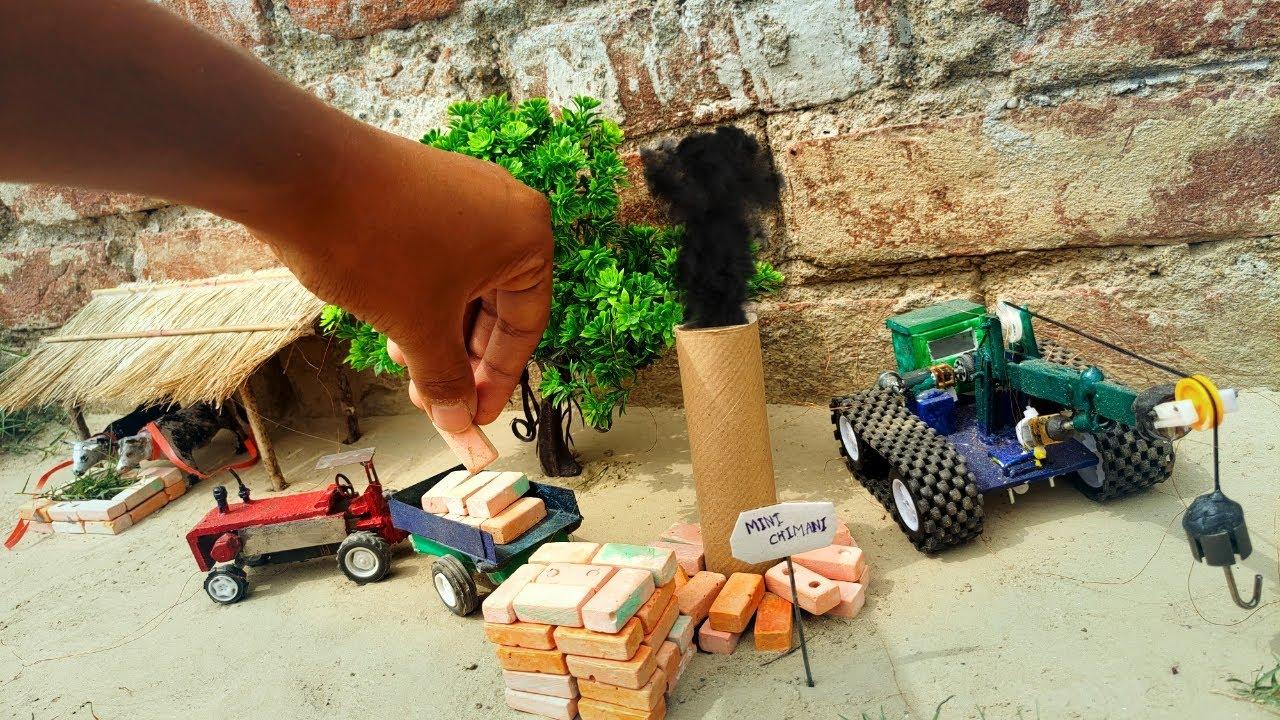 DIY tractor science project | bricks kiln | mini brick construction - with crane