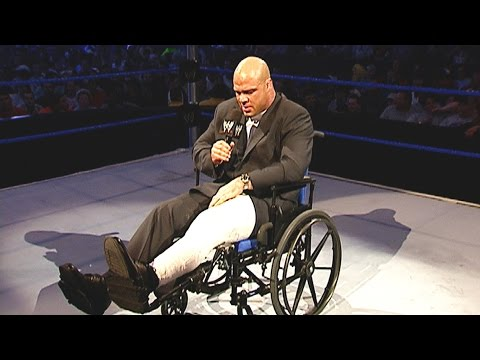 SmackDown General Manager Kurt Angle returns in a wheelchair: SmackDown, April 29, 2004
